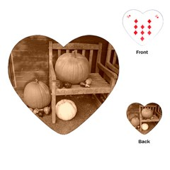 Pumpkins And Gourds Sepia Playing Cards (Heart)