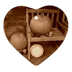 Pumpkins And Gourds Sepia Heart Ornament (Two Sides)