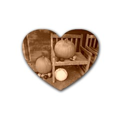 Pumpkins And Gourds Sepia Rubber Coaster (Heart)