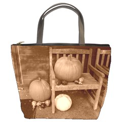 Pumpkins And Gourds Sepia Bucket Bags