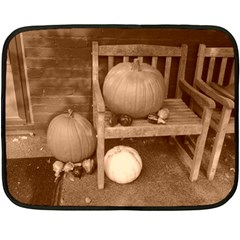 Pumpkins And Gourds Sepia Double Sided Fleece Blanket (Mini)