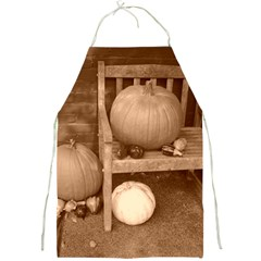 Pumpkins And Gourds Sepia Full Print Aprons