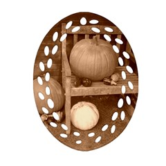 Pumpkins And Gourds Sepia Oval Filigree Ornament (Two Sides)
