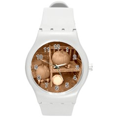 Pumpkins And Gourds Sepia Round Plastic Sport Watch (M)