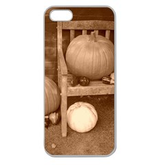 Pumpkins And Gourds Sepia Apple Seamless iPhone 5 Case (Clear)