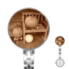 Pumpkins And Gourds Sepia Stainless Steel Nurses Watch