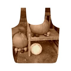 Pumpkins And Gourds Sepia Full Print Recycle Bags (M)