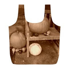 Pumpkins And Gourds Sepia Full Print Recycle Bags (L)