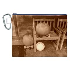 Pumpkins And Gourds Sepia Canvas Cosmetic Bag (XXL)