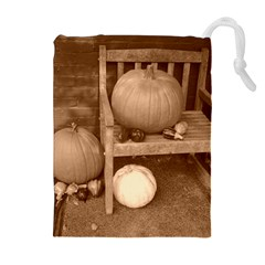 Pumpkins And Gourds Sepia Drawstring Pouches (Extra Large)