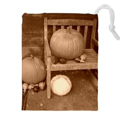 Pumpkins And Gourds Sepia Drawstring Pouches (XXL)