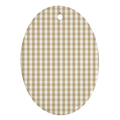 Christmas Gold Large Gingham Check Plaid Pattern Ornament (Oval)