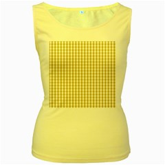 Christmas Gold Large Gingham Check Plaid Pattern Women s Yellow Tank Top