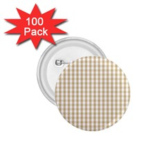 Christmas Gold Large Gingham Check Plaid Pattern 1 75  Buttons (100 Pack)