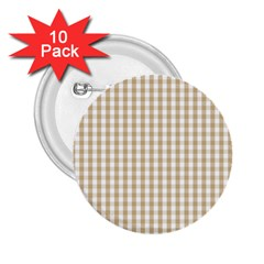 Christmas Gold Large Gingham Check Plaid Pattern 2.25  Buttons (10 pack)