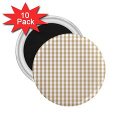 Christmas Gold Large Gingham Check Plaid Pattern 2.25  Magnets (10 pack)
