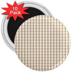 Christmas Gold Large Gingham Check Plaid Pattern 3  Magnets (10 pack)