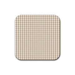 Christmas Gold Large Gingham Check Plaid Pattern Rubber Coaster (Square)