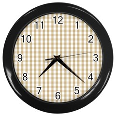 Christmas Gold Large Gingham Check Plaid Pattern Wall Clocks (Black)