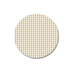 Christmas Gold Large Gingham Check Plaid Pattern Magnet 3  (Round)