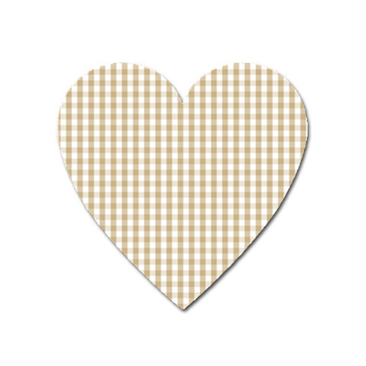 Christmas Gold Large Gingham Check Plaid Pattern Heart Magnet