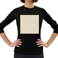 Christmas Gold Large Gingham Check Plaid Pattern Women s Long Sleeve Dark T-Shirts