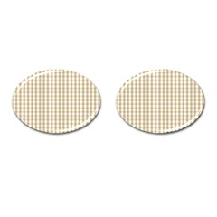 Christmas Gold Large Gingham Check Plaid Pattern Cufflinks (Oval)