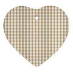 Christmas Gold Large Gingham Check Plaid Pattern Heart Ornament (Two Sides)