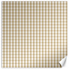 Christmas Gold Large Gingham Check Plaid Pattern Canvas 16  x 16