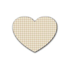 Christmas Gold Large Gingham Check Plaid Pattern Rubber Coaster (Heart)