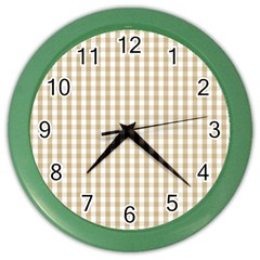 Christmas Gold Large Gingham Check Plaid Pattern Color Wall Clocks