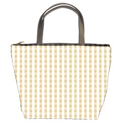 Christmas Gold Large Gingham Check Plaid Pattern Bucket Bags