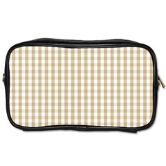 Christmas Gold Large Gingham Check Plaid Pattern Toiletries Bags 2-Side