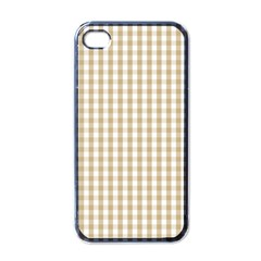 Christmas Gold Large Gingham Check Plaid Pattern Apple iPhone 4 Case (Black)
