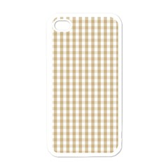 Christmas Gold Large Gingham Check Plaid Pattern Apple iPhone 4 Case (White)