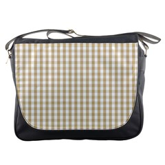Christmas Gold Large Gingham Check Plaid Pattern Messenger Bags