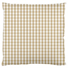 Christmas Gold Large Gingham Check Plaid Pattern Large Cushion Case (Two Sides)