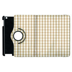 Christmas Gold Large Gingham Check Plaid Pattern Apple iPad 3/4 Flip 360 Case