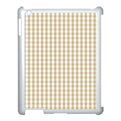 Christmas Gold Large Gingham Check Plaid Pattern Apple iPad 3/4 Case (White)