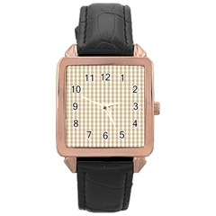 Christmas Gold Large Gingham Check Plaid Pattern Rose Gold Leather Watch