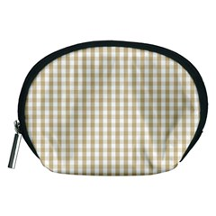 Christmas Gold Large Gingham Check Plaid Pattern Accessory Pouches (medium)