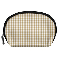 Christmas Gold Large Gingham Check Plaid Pattern Accessory Pouches (Large)