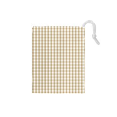 Christmas Gold Large Gingham Check Plaid Pattern Drawstring Pouches (Small)