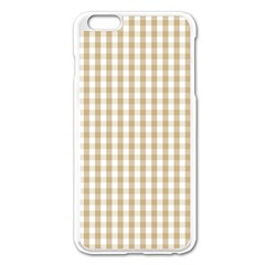 Christmas Gold Large Gingham Check Plaid Pattern Apple iPhone 6 Plus/6S Plus Enamel White Case