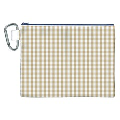 Christmas Gold Large Gingham Check Plaid Pattern Canvas Cosmetic Bag (XXL)