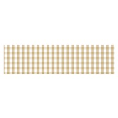Christmas Gold Large Gingham Check Plaid Pattern Satin Scarf (Oblong)