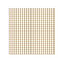 Christmas Gold Large Gingham Check Plaid Pattern Small Satin Scarf (Square)