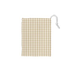 Christmas Gold Large Gingham Check Plaid Pattern Drawstring Pouches (xs)
