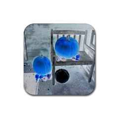 Pumpkins And Gourds Negative Rubber Square Coaster (4 pack)