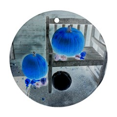Pumpkins And Gourds Negative Round Ornament (Two Sides)